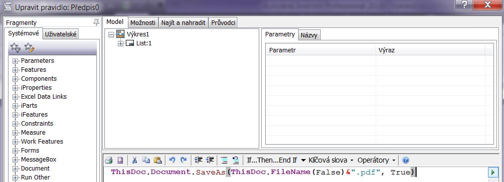 Pravidlo pro vytvoření PDF souboru