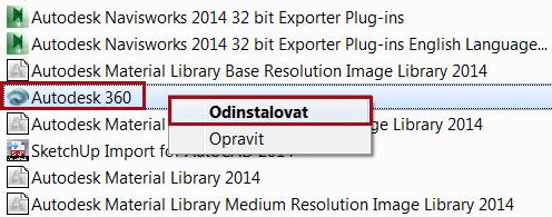 Odinstalace Autodesk 360
