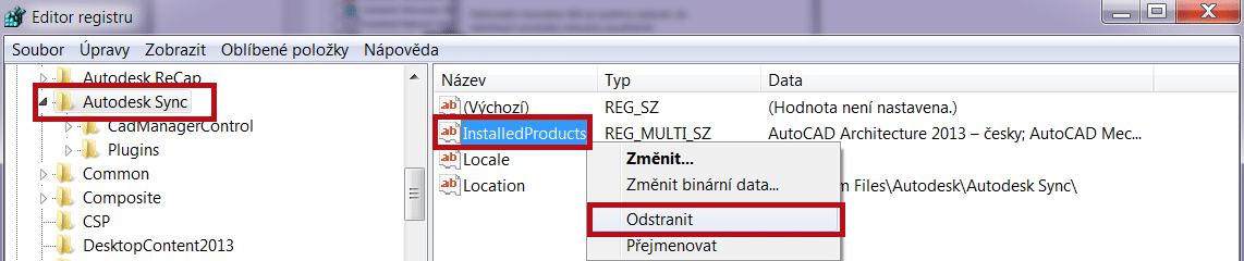 "Odstranění registru""InstalledProducts"""