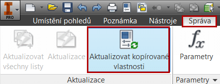Aktualizace kopírovaných iVlastností