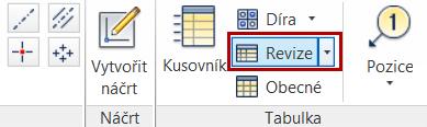 Příkaz pro vytvoření revizní tabulky