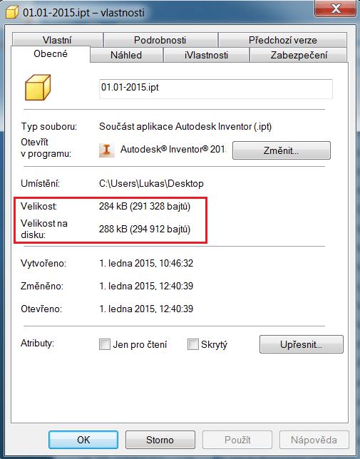 Velikost souboru po přesunutí EOF