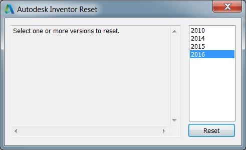 Autodesk Inventor Reset