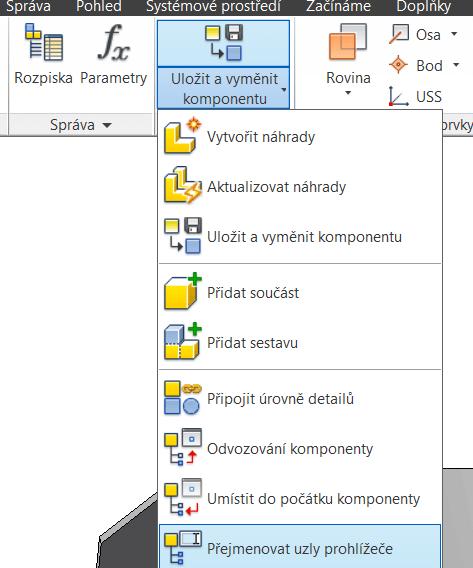 Příkaz - Přejmenovat uzly prohlížeče