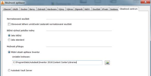 Možnosti aplikace - Obsahové centrum