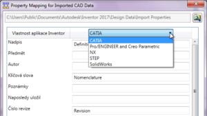 Importování CAD vlastností