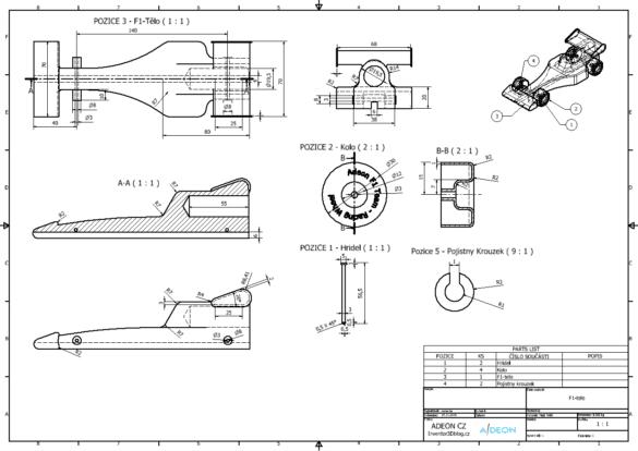 Inventor výkres příkladu Formule 1