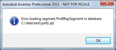 Error loading segment PmBRepSegment in database