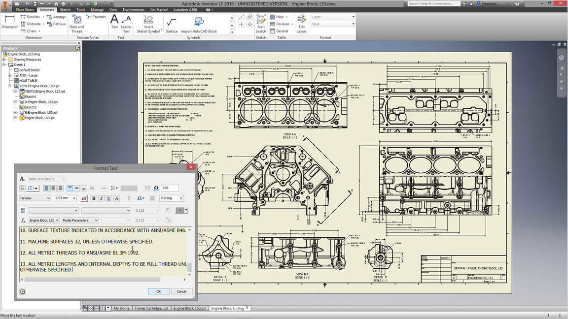 Autodesk Inventor drawing