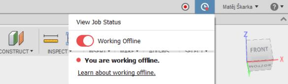 Fusion 360 práce offline