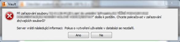 Pokus o vytvoření uživatele v databázi se nezdařil