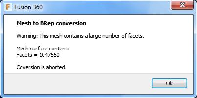 Fusion 360 mesh warning