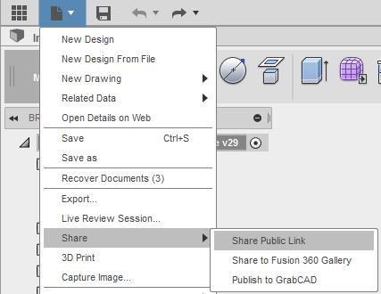 Fusion 360 sdílení CAD modelů