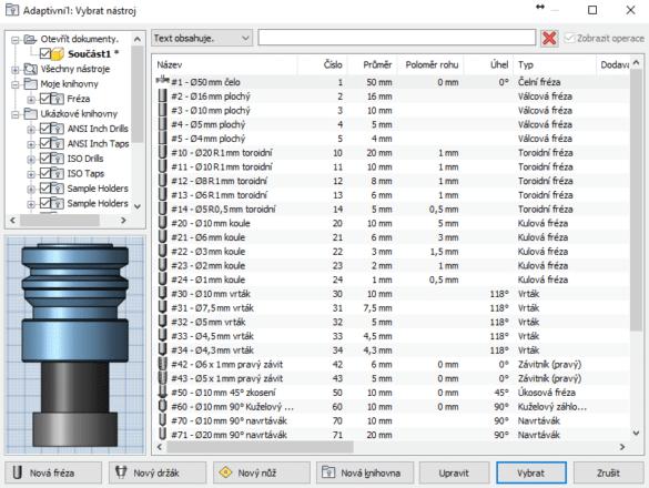Autodesk HSM - seznam nástrojů