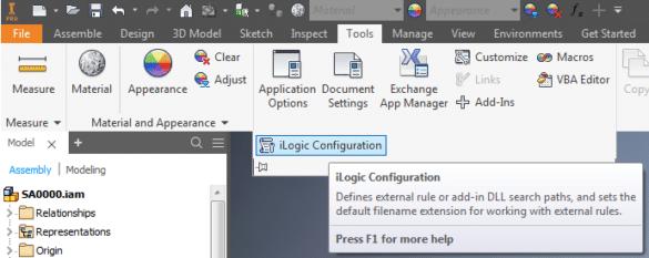 iLogic Configuration
