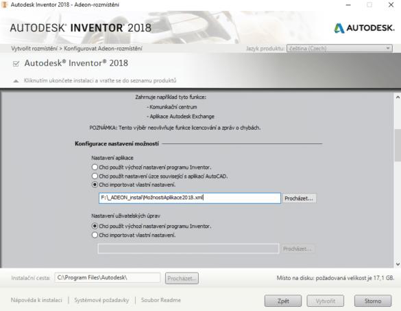 Rozmístění instalace s vlastním nastavení možností aplikace Inventor