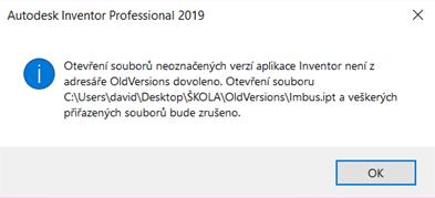 Otevreni souboru neoznacenych verzi aplikace Inventor