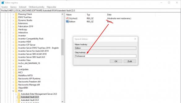 Autodesk Vault registry regedit
