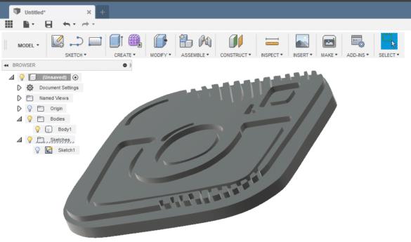 Fusion 360 model z SVG loga
