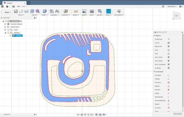 Fusion 360 náčrt z SVG importu