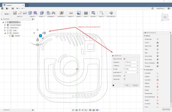 Fusion 360 úprava SVG importu