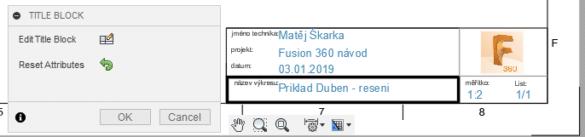 Fusion 360 vyplneni a editace razitka