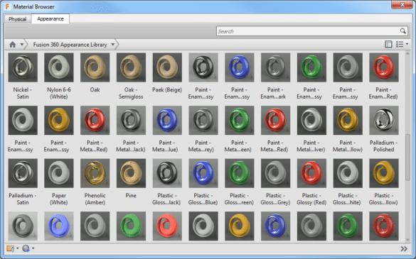 Fusion 360 knihovna vzhledů materiálů