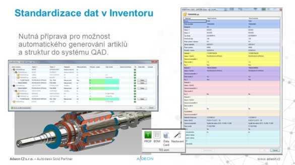 Inventor standardizace napojeni na QAD - TES Vsetin