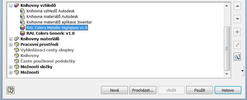 RAL Barvy pro Inventor 2013